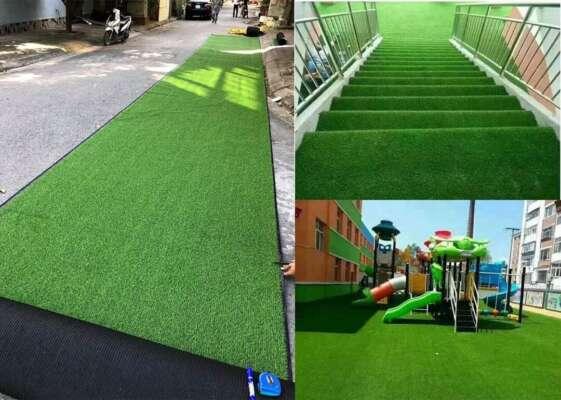 Thảm cỏ nhân tạo với màu sắc xanh, an toàn và thân thiện